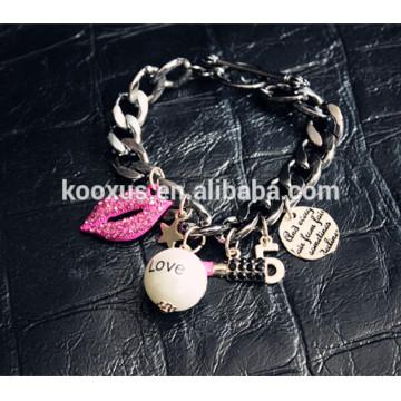 Мода розовые браслеты браслет губы