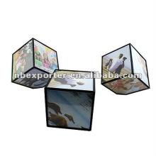 Rotating photo frame cube