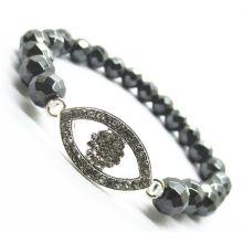8MM facettierte abacus Hämatit Perlen Stretch Armband mit Diamante Alloy Auge