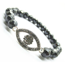 8MM faceted abacus hematite beads Stretch bracelet with Diamante Alloy eye