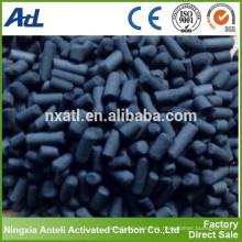 Pellet de 4 mm de carbón activado CTC70 utilizado en la purificación de gases tóxicos