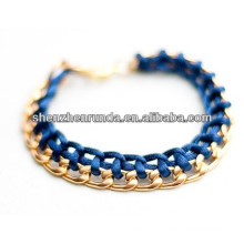High quality stainless steel bracelet weave light blue cotton rope bracelet jewelry wholesale