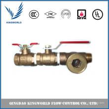Válvula de tres vías Bronze Goble con vista de latón Clase FM UL