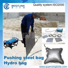 Marble Quarry Use Hydro Bags for Block Push Down Job