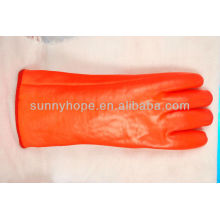 insulated winter orange PVC gloves