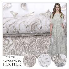 Plano de atacado barato todo o tecido de design de bordado para vestido de noiva
