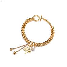 Perla 18K Chapado en oro cadena árbol de la vida pulsera