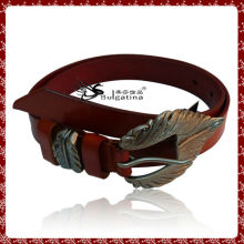 Fashion extra wide leather belt design,leather belt with flat buckle