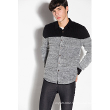 Acrylic/Wool/Nylon Polo Neck Knitted Men Cardigan Sweater with Button