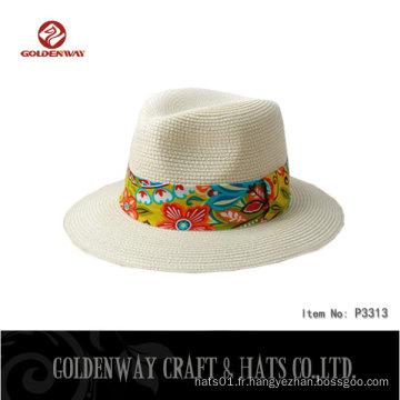 BSCI SEDEX fournisseur d'usine paille Moelle de papier 0.8cm chapeau panama avec décoration florale