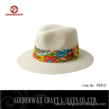 BSCI SEDEX factory supplier straw 0.8cm paper braid panama hat with Floral decoration