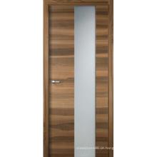 Porta de madeira rústica folheada do painel do MDF interior com vidro