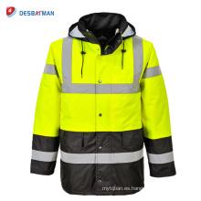 Impermeable impermeable de la chaqueta de la capa del impermeable de la motocicleta para hombre con capucha de la seguridad con el bolsillo reflexivo de las tiras