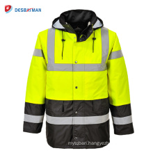 Mens Motorcycle Waterproof Raincoat Jacket Rain Coat Hooded Safety with Reflective Strips Pocket