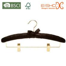 Schwarzer Satin / Stoff gepolsterter Kleiderbügel für Hotels (MR009-1)