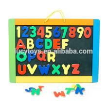Alfabetos e números aprendendo madeira brinquedos placa magnética