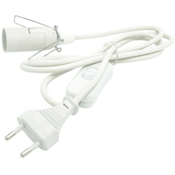 European VDE approved 2.5A flat wire power cable 2 pin eu plug lamp power cord with on/off switch