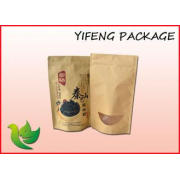 Brown Kraft Paper Bag With Zipper And Window For Food Packa