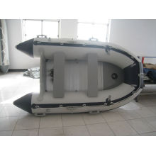0.9mm PVC branco e preto Merine Rio barco de remo inflável SD360 com motor de popa