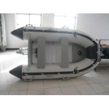 do PVC de 0.9mm branco e preto Merine Rio SD360 inflável barco a remos, com motor de popa