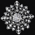 Bridal corsage wedding Large Flower Brooch Pin with Clear Rhinestone Crystals wholesale