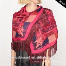 Мода дешевые цветочные полиэстер шарфы шифон шали с бахромой для леди