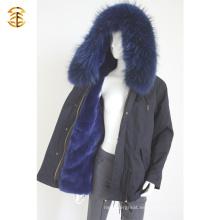 Precio de fábrica de la marina de guerra genuina guacamaya invierno abrigo de piel de las mujeres
