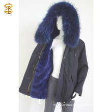 Factory Price Navy Genuine Raccoon Winter Fur Women Coat