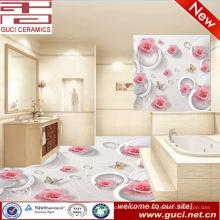 3d azulejo de la pared y piso para azulejos de baño diseños azulejo de piso de cerámica 3D