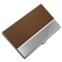 Popular Leather & Metal Business Card Holder for Business Gift