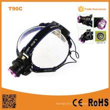 T90c 400 Lumen Xml High Power Zoom Xml T6 LED Lampe frontale