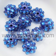 Nuovo Design colore blu resina acrilica strass distanziatore perline 10 * 12MM