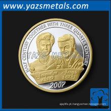 Moeda de casamento de prata e prata brilhante de lembrança personalizada