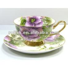 La porcelana china barata de la buena calidad barata embos la taza de té de la porcelana fijada