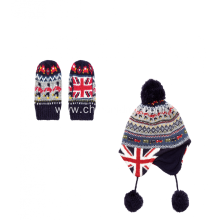 Boys Fairisle Trapper Hat and Mitten