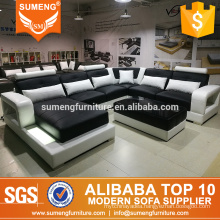 living room u shape leather sofa with led from foshan furniture city china
