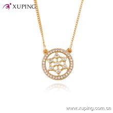 42888 collier accessoires de mode collier de bijoux plaqué or avec pendentif en or 18 carats rond blanc serti de zircon blanc