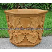 Каменный мраморный плантатор цветов для садового орнамента (QFP331)