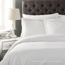 Ensembles de couverture de 4 pièces en coton blanc polyester Queen Size Hotel Doona