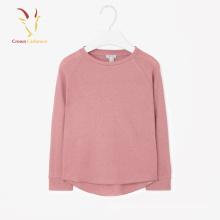 Кашемир девочек пуловер свитер розовый равнина кашемир пуловер свитер