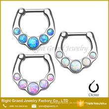 316L chirurgischer Edelstahl synthetischer Opal Nasenring Septum Piercing