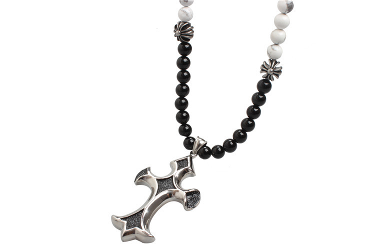 Agate Stone Bead Stainless Steel Cross Pendant Necklace