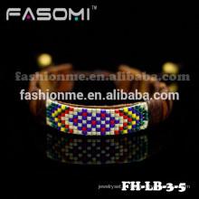 Último diseño joyas pulsera de cuero marrón anudada cable para hombres
