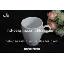 Taza de café de cerámica blanca llana, taza de cerámica de encargo, taza de la porcelana