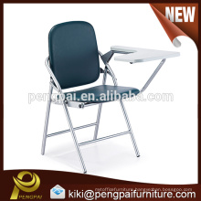 PU leather tubulous steel training chair with writing pad for student
