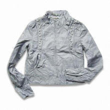 Women's Jacket with Zipper Front, Made of PU