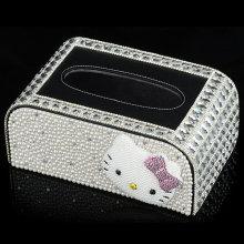 Luxury Diamond Crystal Jewelry Accessories Tissue Box Car Tissue Box for Home Decoration (TBB-004)