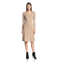 PK18A79HX Women's 100%Cashmere Long Sleeve V-Neck Dress