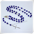 Glass Faux Pearl Bead Rosary, White Rosary, Rosario, Rosaries, Pearl Rosary Virgin Mary Centerpiece (IO-cr397)