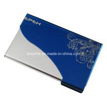 Cartão de visita azul Titular de cartão de metal